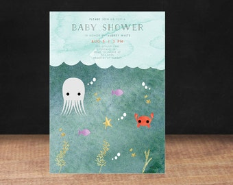 BABY SHOWER INVITATION, Under the Sea Baby Shower Invitation, Water Color, Gender Neutral, Octopus