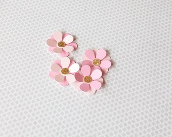 Pink & Gold paper Flowers | Pink and gold decorations | Scrapbooking flowers | Birthday decorations | Cupcake Topper | Paper Flowers