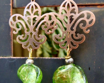 Green and Gold Glittery Drop Earrings