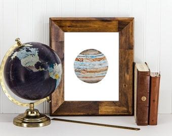 Jupiter Wall Art, Jupiter Print, Watercolor Jupiter, Jupiter Home Decor, Jupiter, Jupiter Wall Decor, Space Print, Space Home Decor, Space