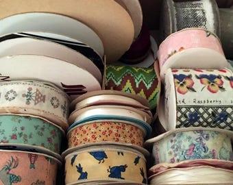 Vintage Ribbon,5 Pound Lot,Ribbon,22 Various Colors and Sizes,Decorative Ribbon