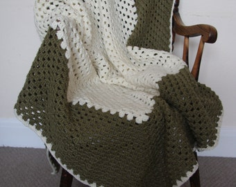 Hand Crocheted chunky square blanket