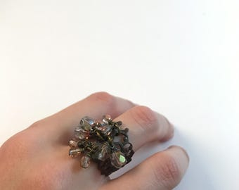 Adjustable Statement Ring, brass, cluster, czech glass