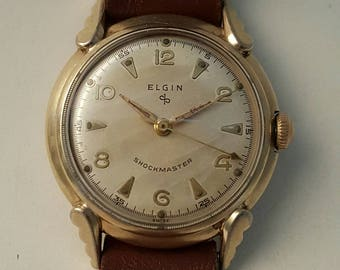 Vintage ELGIN SHOCKMASTER in gold filled case dating to the mid 1950's-------SERVICED----------