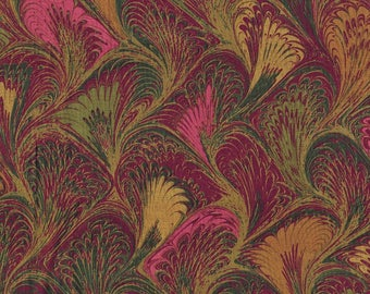 SALE 1-1/2 yd Plume Marble by Carla Miller for Rowan Fabrics Rich Pink Gold Green Plumes Feathers Marbled Colors Quilting Weight Fabric