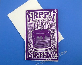 Hand Carved Block Letterpress Happy Birthday Card on Italian Fabriano Medioevalis Paper/Envelope