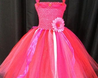 Bright pink & red princess tutu dress, tulle tutu dress for girls, birthday dress, gift for her, princess dress, dress up