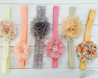 Baby Headbands Set, Baby Girl Bows, Baby Girl Headband, Newborn Headbands, Flower Girl Headband, Shabby Chic Baby Headbands, Flower Headband