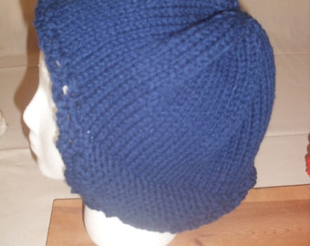 Blue Knitted Ear Flap Hat