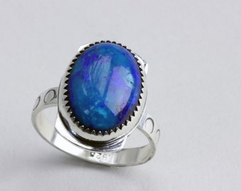 Azurite Sterling Silver Ring. Size 8 1/4.