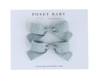 Little Lou Set | Beach Blue | Linen Baby Headbands & Bows