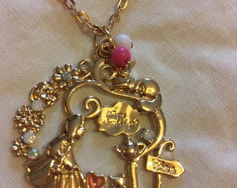 Inspired by alice in wonderland gold plated necklace 20inches long