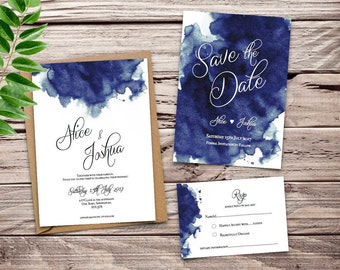 Navy Blue Watercolour Printable Wedding Invitation Set