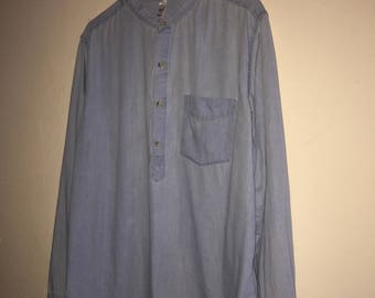 Mandarin Collar Denim Pullover Shirt