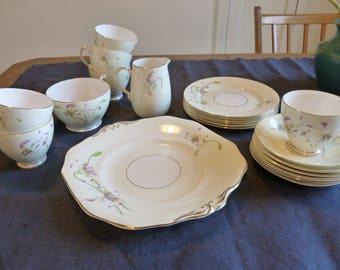 21 Piece Old Royal Bone China Dessert Set, Erythronium Pattern