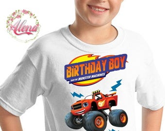 Blaze Birthday Shirt , Iron On Transfer , Blaze And The Monster Machines Birthday Shirt , Boy Birthday Shirt , Digital File , Blaze T Shirt