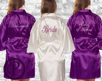 White, Purple Rhinestone Bridal Robe Set, Satin Kimono Bridal Robe, Embroidered Robe, Wedding Day Robe, Set of 2, 3, 4, 5, 6, 7, 8, 9