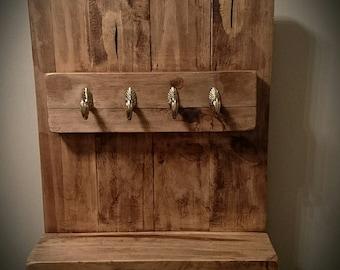 Rustic wood key shelf