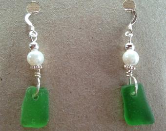 Green Sea Glass Sterling Silver Earrings