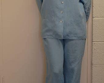 womens pyjamas, womens linen pyjamas, womens blue linen pyjamas, linen pyjamas, irish linen, sleepwear women, womens linen clothing, linen