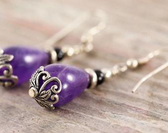 Sterling silver purple amethyst earrings with leaf motif