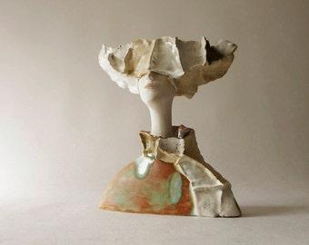 Ceramic Sculpture, Dune Lady, Clay sculpture, A Woman's Bust, Fine Art Ceramic,Art Object, Home Decoration,Handmade Décor,