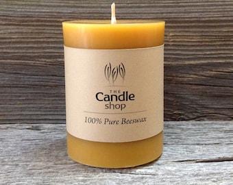 """4"""" natural Beeswax Cylinder Pillar Candle"""