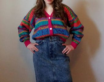 One Step Up 1980s Rainbow Neon Striped Sweater