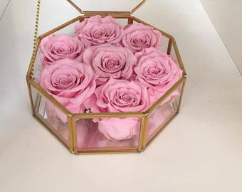 7 Eternity Roses in an Octogonal Glass And Brass Box