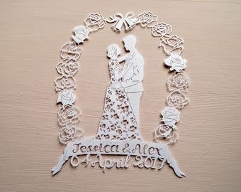 Wedding / Bride and Groom Handcut Personalised Papercut, Wedding Gift, Wedding Present, Anniversary Gift, Present Paper cut, Handmade
