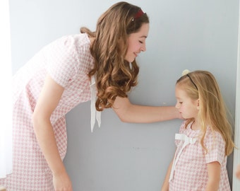 Child Version-Mother & Daughter Matching Dress : Houndstooth with cute bow dress