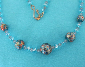 SALE! Tensha Blue Clematis Floral Beads with Aqua and Smoky Crystals Necklace