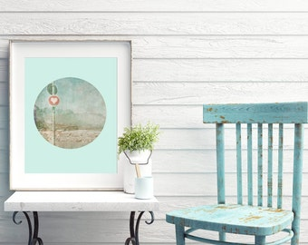 Aqua Blue Printable Poster South Africa Photography Heart Picture Living Room Decor Girls Wall