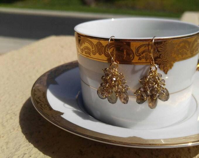Smokey quartz cluster earrings, 14k solid yellow gold, dangle earrings.