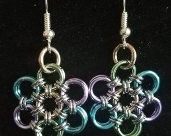 Blue, Purple, and Green Chainmaille Flower Earrings