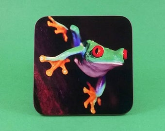 Coasters , Coffee & Drinks 90x90mm 3.54 x 3.54 inches Hardwood Sublimated Green tree frog