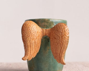 Ceramic mug, green, with wings, pottery, stoneware, modern, wings mug, coffee mug, modern ceramic mug, ceramic cup, teacup, tea cup