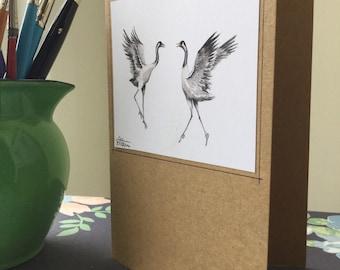 Dancing Cranes Greetings Cards