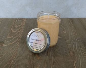 Peaches & Cream - Scented Candle - Soy Candles - Mason Jar Candle - Gift Ideas