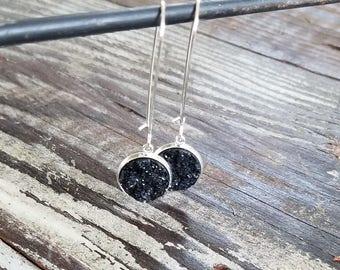 Faux druzy black dangles   Kidney wire   statement earrings