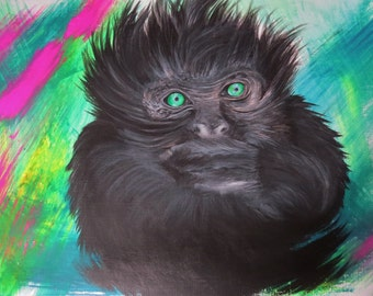 Original acrylic painting on paper 30 x 40 gorilla in the graffiti-style