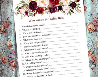 Who knows the bride best Bridal showe game Know the bride quiz Who well know bride Floral who knows Do you know bride wedding shower game