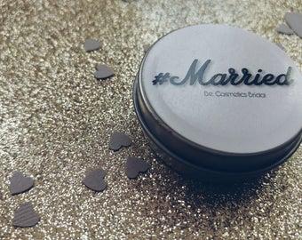 Set of 50/ #Married / Beeswax lip balm/ wedding favors