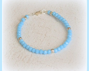 Minimalist bracelet turquoise blue Czech glass faceted Sterling 925 Silver Tibetan chic tibet Silver gift pastel shades