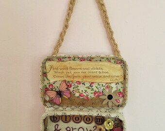 Tin art mixed media wall hanging with the addition of vintage items