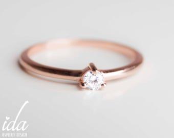 14K Rose Gold Engagement Ring - Round Cut Solitaire Diamond Engagement Ring - Promise Ring For Her - Engagement Rings For Women - Rings