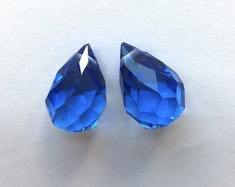 Antique Faceted Crystal Briolette Beads (Pair) - Blue