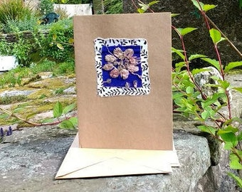 Handmade greetings card upcycled sari fabric