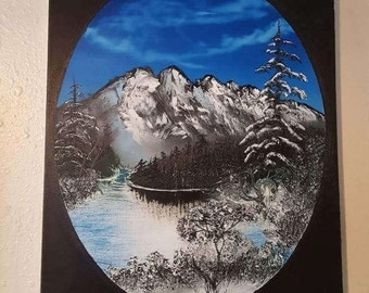 Cold Lake, Oval painting Original work