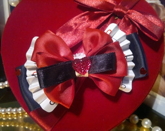 Disney Alice in Wonderland Queen of Hearts inspired, Handmade Hair Bow